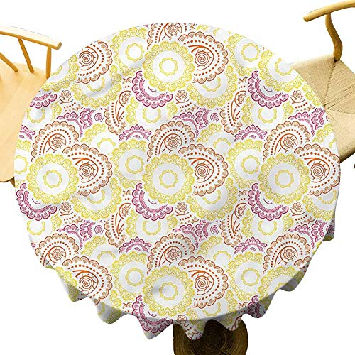Big Round Tablecloth Oriental Swirls and Paisley. Outdoor Picnic Table Diameter 43'