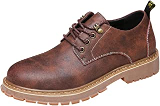 Men's Fashion Lace Up Work Shoes Round Toe Low Leather Casual Classic Oxford