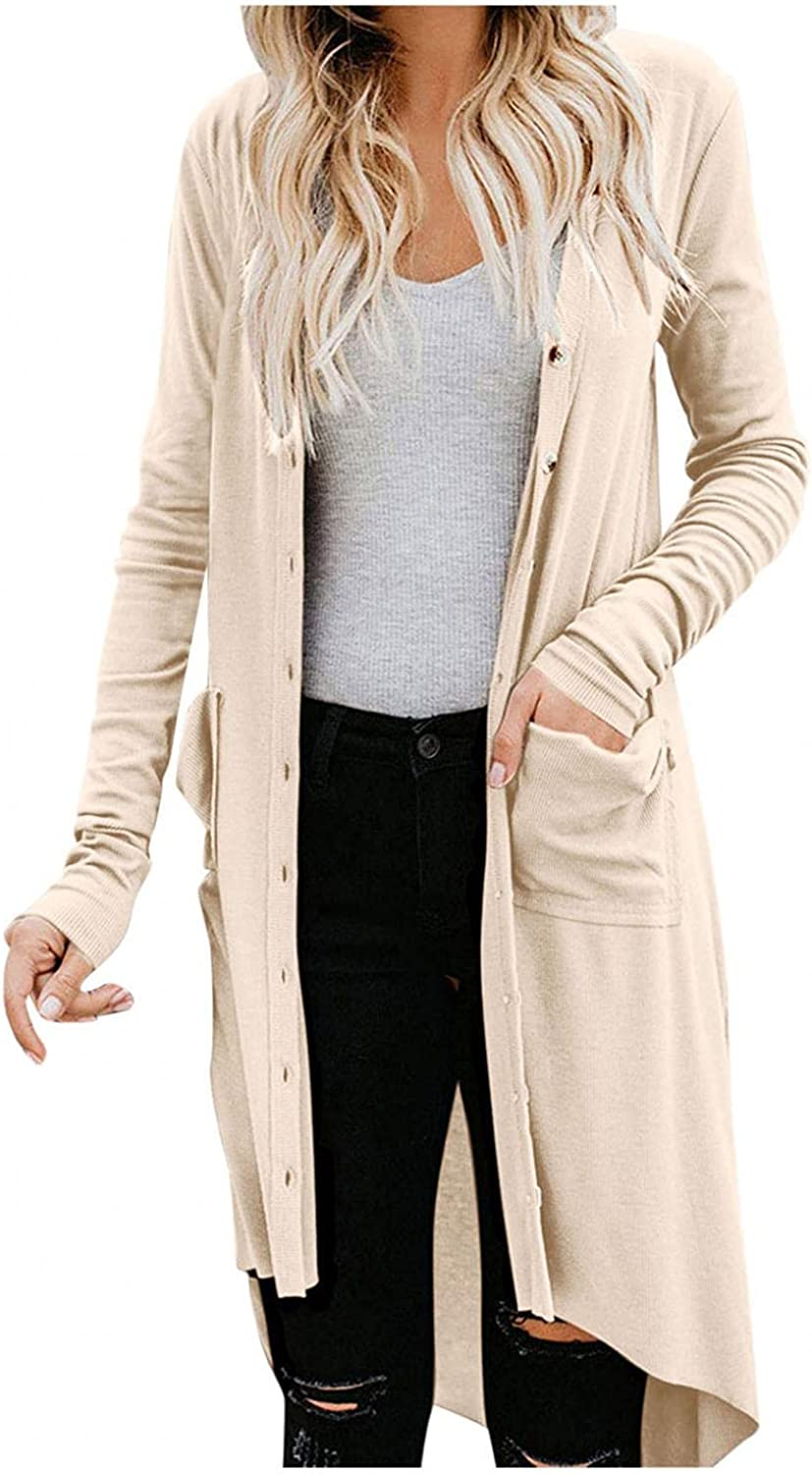 Gibobby Sweaters for Women,Womens Fashion Loose Lightweight Plus Size Open Front Long Sleeve Pocket Outwear with Button