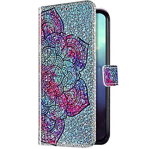Uposao Kompatibel mit Huawei P Smart Z Hülle Glitzer Bling Strass Diamant Bunt Muster Handyhülle Leder Hülle Wallet Flip Case Brieftasche Schutzhülle Tasche Magnetisch,Mandala Blumen