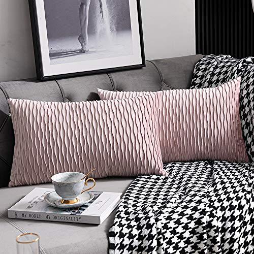 DEZENE Fodere per Cuscino Color Rosa: 30 cm x 50 cm: Fodere per Cuscino Decorative rettangolari in Velluto a Strisce Originali da 2 Pezzi per Divano Letto