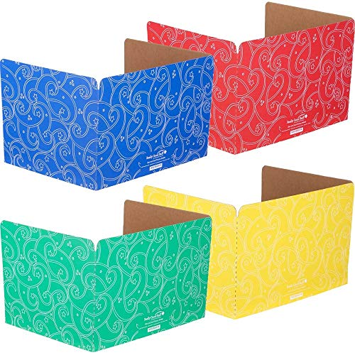 Really Good Stuff Standard Privacy Shields for Student Desks – Set of 12 - 4 Group Colors -Matte - Study Carrel Reduces Distractions - Keep Eyes From Wandering During Tests , Red, Blue, Green & YellowWith Stars & Swirls Pattern