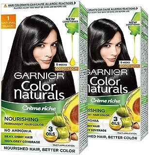 Garnier Garnier Color Naturals Crème Hair Color - Shade 1 Natural Black, 70ml+60g (Pack Of 2), Black, 211.2 g (Pack of 2)