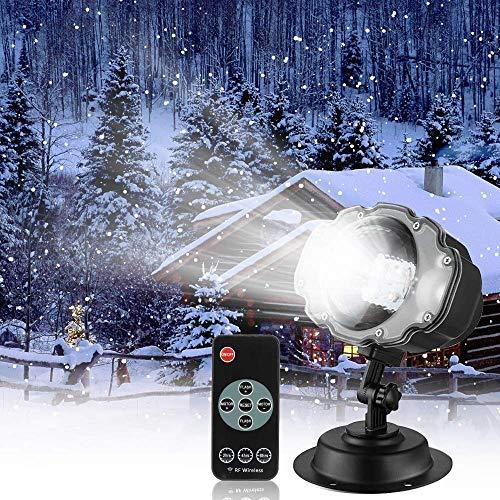 Schneefall LED-Lichtprojektor Outdoor, Weihnachten LED Schneefall-Landschaftsprojektor-Licht mit Wireless Remote für Weihnachten, Halloween, Urlaub, Outdoor, Party Decorations (Waterproof Remote)