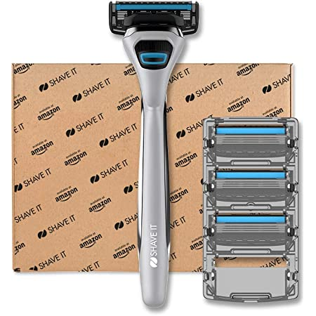 Shave It - Rasoio a 4 lame da uomo, con manico e 4 lame