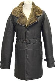 Infinity Uomo Pelle Marrone Vintage Reale Lunga Spesso Shearling Zenzero Pelle di Pecora con Cintura Comfort Fit