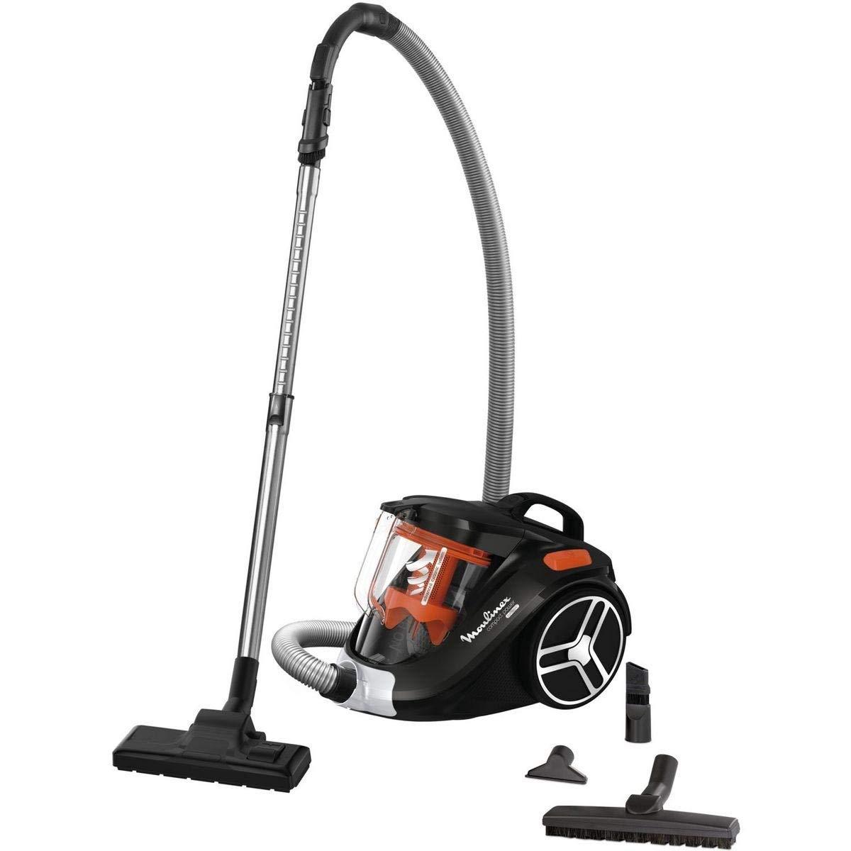 Moulinex mo3745pa - Aspirador sin bolsa 79db, color negro y naranja compacto: Amazon.es: Hogar