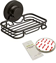 Gecko-Loc Rustproof Black Vacuum Suction Soap Dish Holder Shower Bath, Sponge Holder Sink Organizer - Easy Installation No...