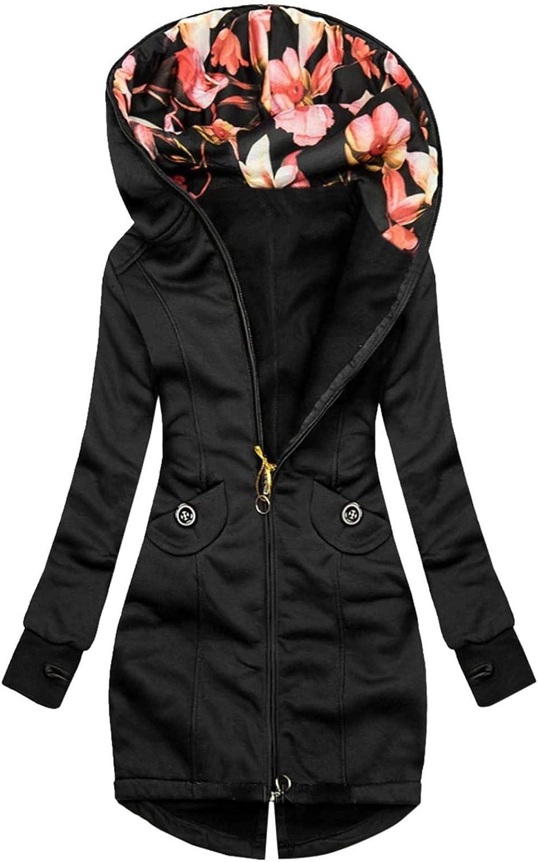 Coats for Women, Women Winter Casual Stitching Color Jacket Zipper Sweatshirt Long Sleeve Coat
