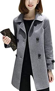 Women's Spring Casual Lapel Long Sleeve Double Breasted Pea Coat Jacket