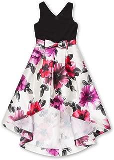Girls' Big V Neck Bow Front High Low Formal Dance Party Dress