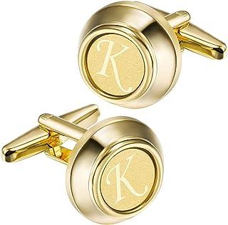 ست های دکمه دار و دکمه سر دست 2 اینچ HAWSON برای مردان A-Z دکمه سر دست حروف حک شده با طلا و مجموعه کلیپ های کراوات برای عروسی تجاری رسمی