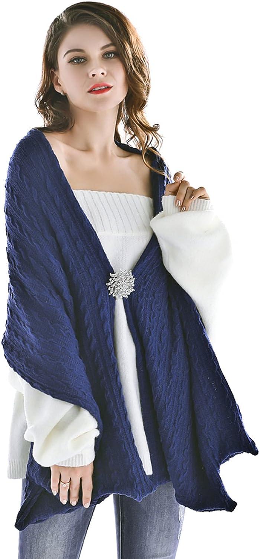 Jovono Women's Knitted Scarf Blanket Winter Scarf Warm Cozy Sided Wrap Shawl Cape