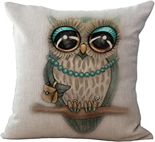 ChezMax Linen Blend Rural Style Owl Pattern Cushion Cover Cotton Pillowslip Square Decorative Throw Pillow Case 18 X 18''