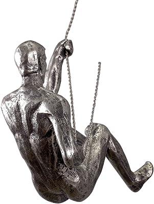 Man Climbing Rope Silver Bronze Metal Wall Mounted Art Sculpture Home Decor