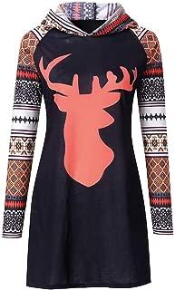Christmas Tops Women Xmas Colorful Sleeve Splice Cap with Deer Head Blouse Long Hooded Sweatshirt