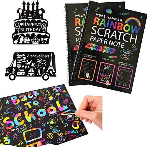 MengTing 20 Fogli di Disegni Scratch Art,Rainbow Scratch Art Notebooks, Scratch Art Pittura Scratch Boards- Best Rainbow Magic Paper Craft Regalo di Natale per Bambini