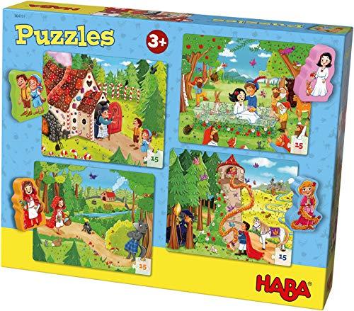 HABA 304701 - Puzzles Märchenland, 4 x 15 Teile, Puzzle ab 3 Jahren mit Holzfiguren, Rotkäppchen, Rapunzel, Hänsel und Gretel, Schneewittchen