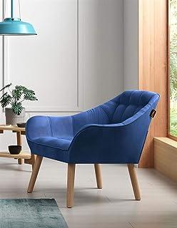 Zons Bleu, Oslo Fauteuil Une Place en Velours/Suedine/Tissus, Style scandinave Pieds en Bois