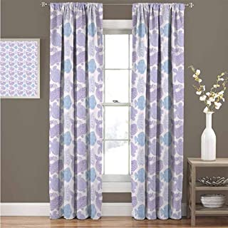 GUUVOR Whale 99% Blackout Curtains Sea Turtle Water Plant and Fish in Doodle Style with Paisley Mehndi Motifs for Bedroom Kindergarten Living Room Curtain 52