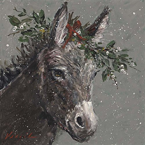 Mary Beth The Christmas Donkey by Mary Miller Veazie Art Print, 14 x 14 inches