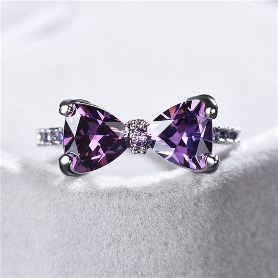 Idiytip Butterfly Knot Crystal Finger Rings Bow Rhinestone Midi Knuckle Ring Elegant Jewelry Accessories Party Decor,Size 6