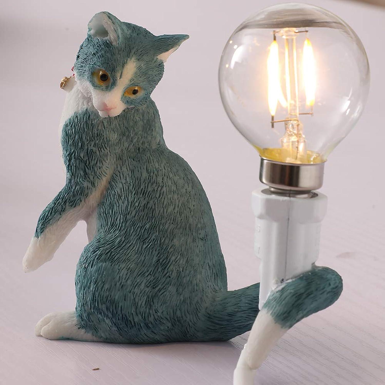 Injuicy Katze Schreibtischlampen, Harz Tischlampe Schreibtisch Licht Tisch für Kinderzimmer, Balkon, Nachttisch, Geschenk Dekoration (C, Blau)