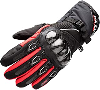 Waterproof Motorcycle Gloves Carbon Fiber Shell Water Warm Motorbike Gloves with Touch Screen Function For Men Women Red Large