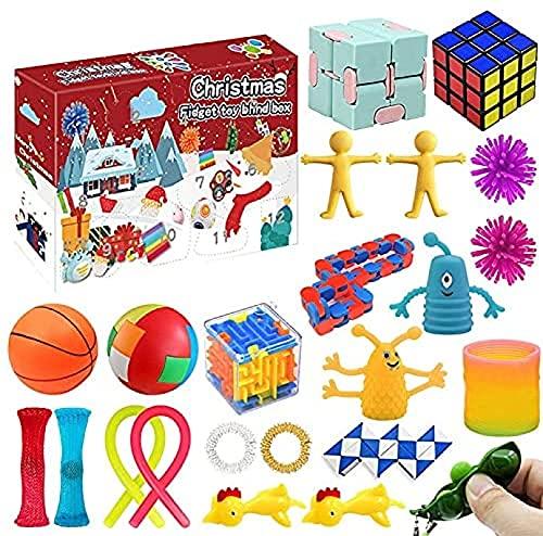 Juego de juguetes sensoriales Fidget, Calendario de Adviento Christma Paquete de juguetes Fidget, Calendario de cuenta regresiva de Navidad Simple Dimple Pop It Caja de regalo de descompresión A