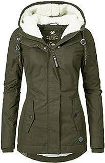 SYANO - Abrigo cálido para mujer con capucha, corte ajustado, abrigo de invierno para mujer, chaqueta de invierno con capu...