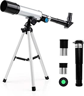 Telescope for Kids,Professional 90X Astronomical Landscape Telescope 2 Magnification Eyepieces and 1.5X Barlow Len with Tr...