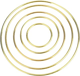 Onwon 10 Pieces Metal Ring Metal Hoops Metal Macrame Rings for Dream Catcher, Macrame Projects, Wreaths and Crafts, 5 Different Sizes - 2/3 / 4/5 / 6 Inches, Gold