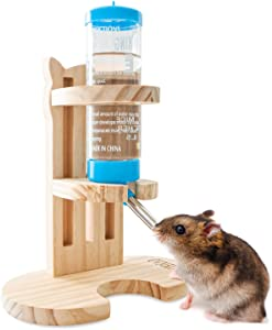 OVMKOV Guinea Pig Water Bottle, Hamster Water Bottle, No Drip Water Bottle for Small Animal, 125ml Water Bottle No Drip with Adjustable Height Stand Feeding Bottles for Small Pet Rodents Guinea Pig