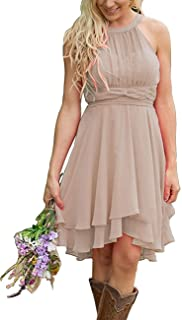Short Bridesmaid Dresses Chiffon Halter Prom Dress Country Wedding Dress