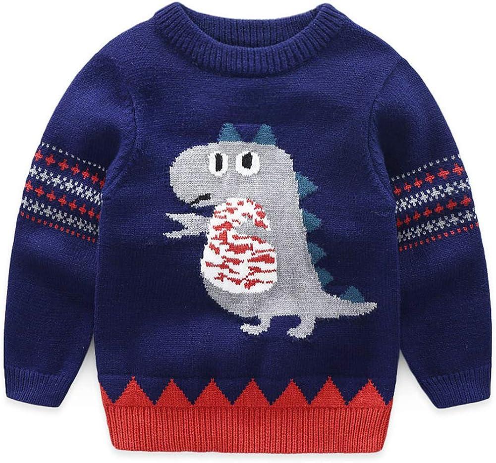 Mud Kingdom Cute Little Boy Sweater Pullover Cartoon Dinosaur