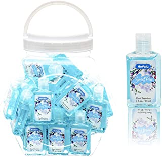 NuValu Sweet Pea Scented Antibacterial Hand Sanitizer (1fl. oz. bottles), 48 PACK (Baby Blue)
