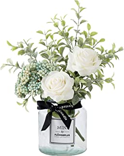 HEBE Artificial Flowers in Vase Fake Silk Rose Flower Berry Arrangement Bouquet with Glass Vase for Table Centerpiece Home...