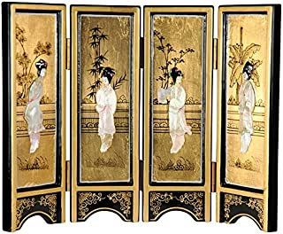 Oriental Furniture Mini Lacquer Screens - Gold Mother of Pearl Ladies