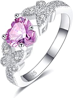 925 Sterling Silver Plated Created Rainbow Topaz Womens Ring Best Gift for Women Girls