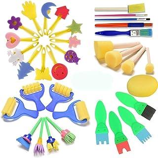 FUQUN 35 sztuk pędzli dla dzieci, zestaw narzędzi do malowania, gąbka, pędzel do malowania, gąbka do malowania dla dzieci,...