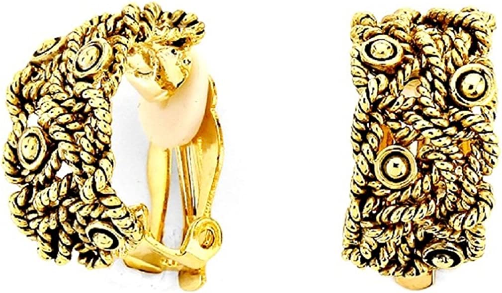 Uniklook Women's Chunky Haft Rope Design Gold Hoop Clip on Earrings Drag Queen Show