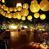 Qedertek Guirnaldas Luces Farolillos Solares 8M 30 LED Cadena de Luces Exterior Impermeable para Decoración Jardines Casas Bodas (Blanco Cálido)