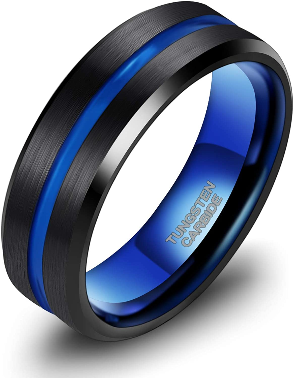 TRUMIUM 8mm Mens Wedding Ring Tungsten Centre Groove Beveled Edge Matte Brushed Comfort Fit Size 6-14