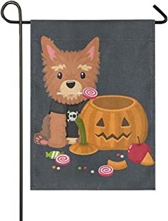 ALAZA Halloween Yorkshire Terrier Dog with Pumpkin Burlap Garden Flag Home Banners, Double Sided Welcome Farmhouse Outdoor Yard Decorative Flag 12 x 18 inch