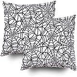 koniqiwa Funda de Almohada de Arte, Textura Transparente de Vector con Tela de araña Negra sobre un Fondo Blanco Paquete de 2 Fundas de Almohada Cuadrada Decorativa