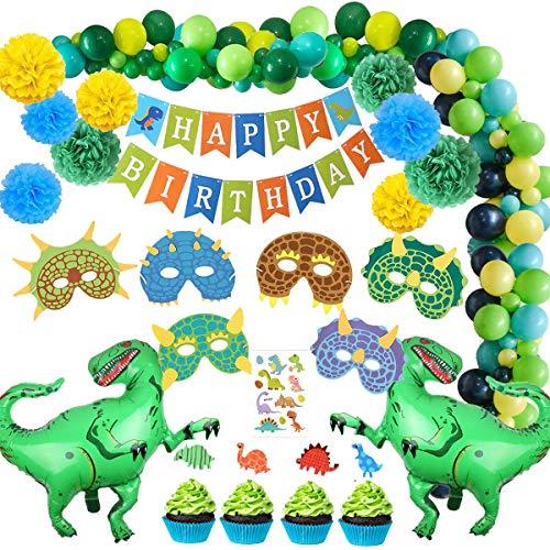 SPECOOL Globos de cumpleaños Decoraciones de Fiesta de Dinosaurio 3D - Dinosaurio de Estilo jurásico Mundial Happy Birthday Banner y Globos de Dinosaurio Set Favores de Partido Juguetes