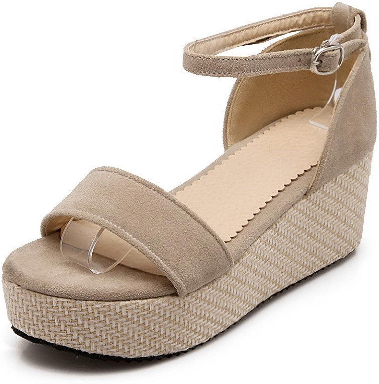 AllhqFashion Women's Frosted Buckle Open Toe Kitten Heels Solid Sandals