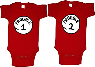 Trouble 1 & Trouble 2 Baby Shirts Twin Set