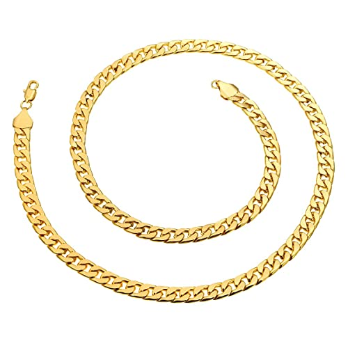 866ecb41f1ea EAGLESTIME Unisex 7mm Width Gold Plated Chain Link Necklace 24
