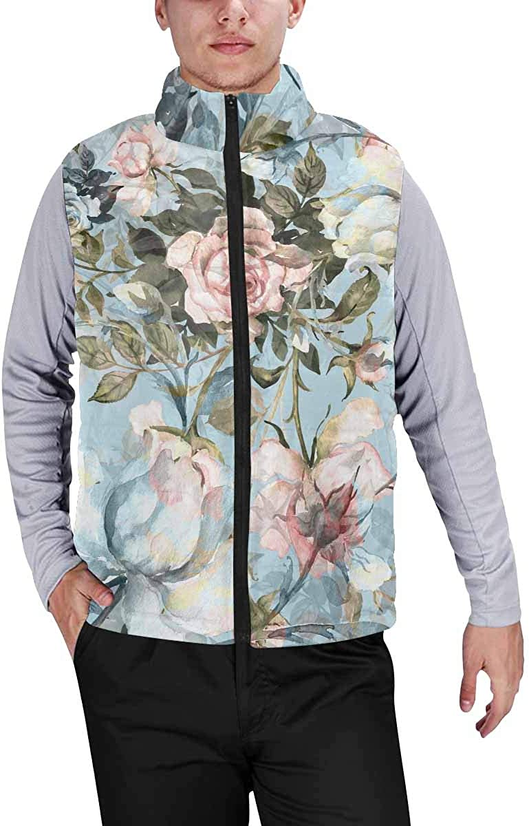 InterestPrint Men's Outdoor Casual Stand Collar Padded Vest Coats a Ship in a Deser